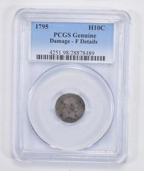 Genuine Damage F Details 1795 Flowing Hair Half Dime - PCGS Graded