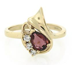 Great Looking Pink Tourmaline & Diamond Ring
