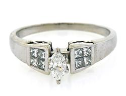 Lovely Marquise and Princess Cut Diamond Ring