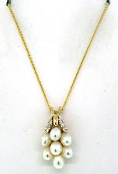 Chic Pearl Cluster & Diamond Pendant Necklace