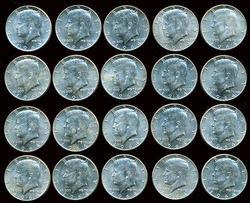 Choice BU Roll of 20 1964 Kennedy Half Dollars