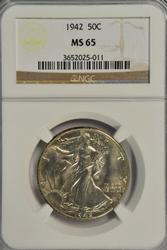 Solid Gem BU 1942 Walking Liberty Half Dollar. NGC MS65
