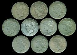 Ten (10) Peace Silver Dollars from the 1920's in circ