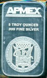 Special Prooflike APMEX 5 Troy Oz Silver Bar in plastic