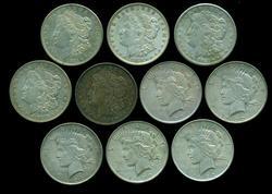 10 US Silver Dollars: 5 1921 Morgans & 5 1922 Peace