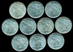 10 Lovely Peace Silver Dollars, 4 1922, 4 1923, 2 1924