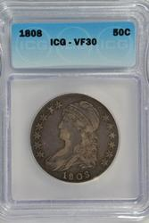 Nice & Scarce 1808 Capped Bust Half Dollar. ICG VF30