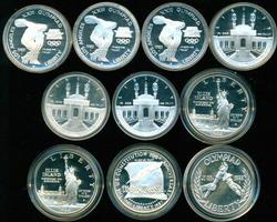 10 Assorted Proof Commemorative Silver $1 in Capsules