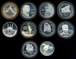 10 Diff. Proof Commemorative Silver $1 w/o Packaging