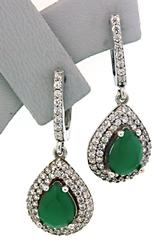 Green Stone Dangle Earrings in Sterling Silver