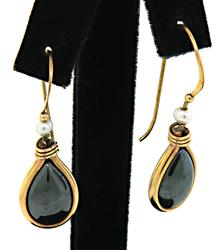14kt Yellow Gold Glass Gemstone Earrings