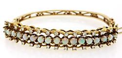 14kt Yellow Gold Opal & Diamond Bracelet