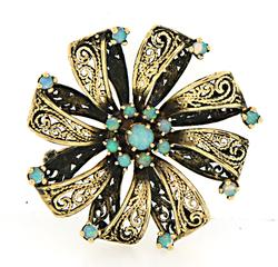 14kt Yellow Gold Pin with Opals