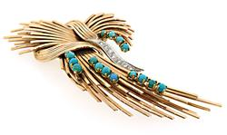 14kt Yellow Gold Pin with Turquoise and Diamonds