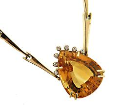 Amazing 14kt Solid Gold Natural Citrine & Diamond Necklace