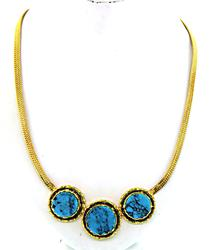 Gorgeous 18kt Gold & Turquoise Pendant Necklace