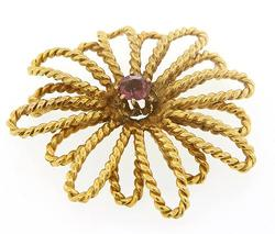 18kt Yellow Gold Flower Pin with Amethyst