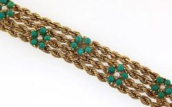 14kt Yellow Gold Bracelet with Natural Green Gems