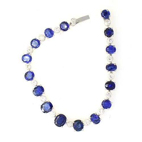 Royaly10 CTW Sapphires w/ Diamonds in Platinum Bracelet