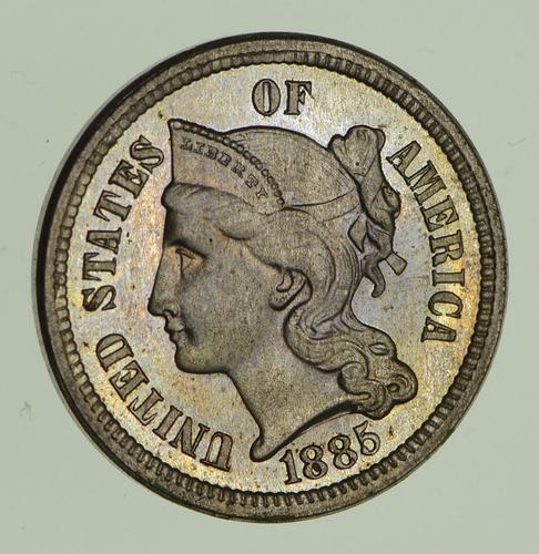 1885 Copper-Nickel Three-Cent Piece - Circulated