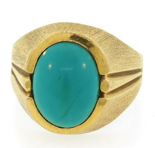18kt Yellow Gold Turquoise Ring