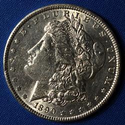 1890 Nearly Unc Morgan Silver Dollar