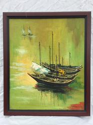 Lovely 1960s Soothing Painting of Moored Sailboats, Signed Oil Painting