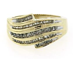 Multi Row Diamond Wave Band