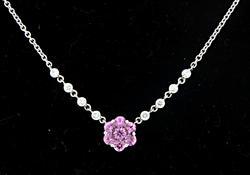 Picturesque Pink Sapphire & Diamond Flower Necklace