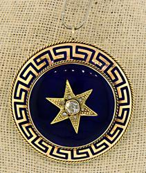 Vintage Style Blue Enamel Star Brooch with Diamonds