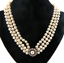 Classic Triple Pearl Strand w/ Diamond Clasp