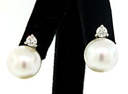 Majestic Pearl and Diamond Solitaire Earrings