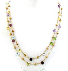 Elegant Multi Gemstone Station Necklace