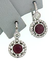 Radiant Ruby & Diamond Halo Earrings