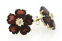 Colorful Garnet Heart Flower Earrings with Diamonds