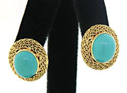 Excellent Turquoise Earrings in Woven Frames in 18K