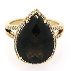 Impressive Pear Shape Smokey Quartz Ring w/ Diamonds