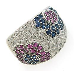 Impressive Multi Gemstone Wide Band Ring