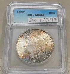 1887 Morgan Dollar  ICG MS-64, georgeous color