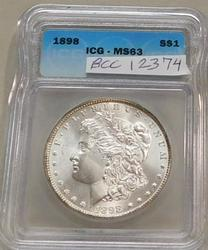 1898 Morgan Dollar  ICG MS-63, Premium Quality