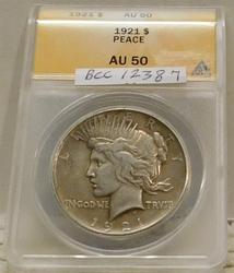 1921 Peace Dollar ANACS AU-50, High Relief