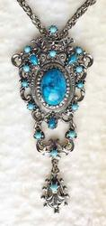 Classic, Circa 1960s, Faux Turquoise & Silver Tone Necklace