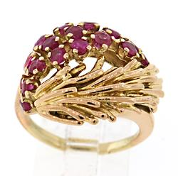 Vintage Look Ruby Cluster Ring in 18K