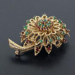 14kt Gold Pin with Emeralds & Rubies