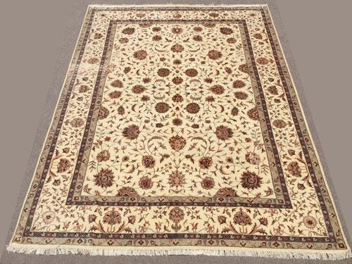 Exquisite Fine Silk Flowers Hand knotted Persian Tabriz Rug