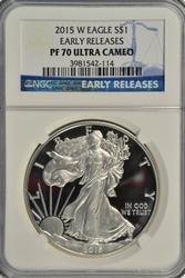 Perfect 2015-W Gem PRF $1 Silver Eagle. NGC PF70 UC