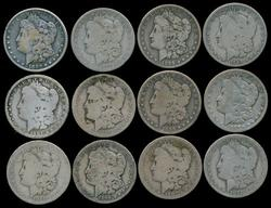 12 Assorted 19th Century Morgan Silver Dollars. Low end