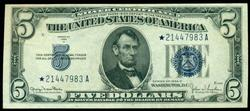 Scarce Crisp Uncirculated 1934-D $5 STAR note