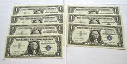 1957A Ch CU $1 Silver Cert Run of 4 & 3 in Sequence