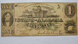 1863 State of Alabama Green One First Series